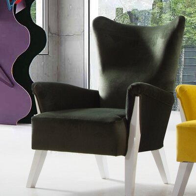 Snapp Armchair Upholstery: Green, Finish: White