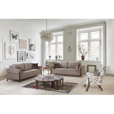 Lambert Sleeper Sofa by Perla Furniture Upholstery: Light Brown, Frame Finish: Chestnut