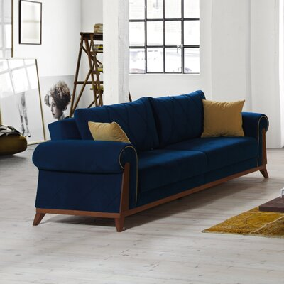 Lambert Sleeper Sofa Upholstery: Blue, Frame Finish: Chestnut