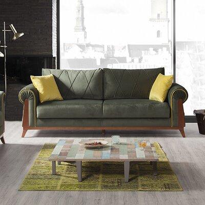 Lambert Sleeper Sofa Upholstery/Frame Finish: Green/Chestnut, Upholstery/Frame Finish: Pear/Chestnut