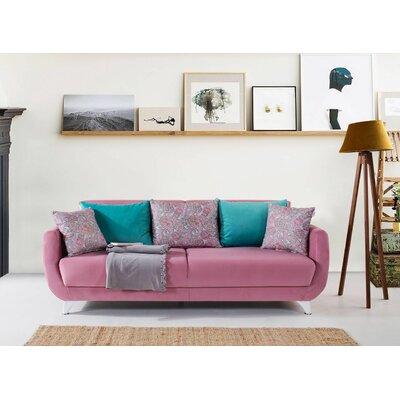 Dream Sleeper Sofa Upholstery: Pink, Finish: White