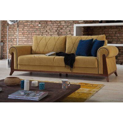 Lambert Sleeper Sofa by Perla Furniture Frame Finish: Chestnut, Upholstery: Mustard Yellow
