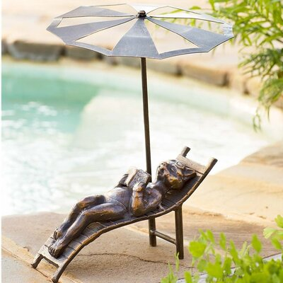 Metal Cat Beach Chair Statue GO7521
