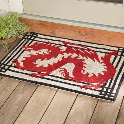 Dragon Hand-Tufted Red Indoor/Outdoor Area Rug