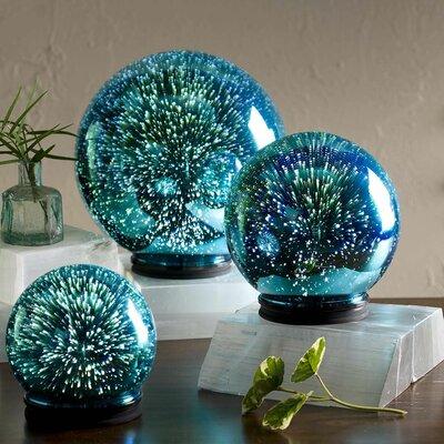 3D Lighted Mercury Glass Balls 3 Piece Cloches and Water Globes Set LT7646BLU