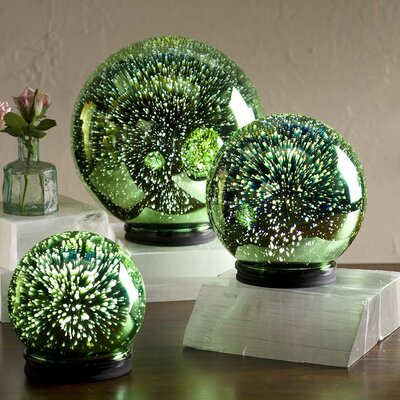 3D Lighted Mercury Glass Balls 3 Piece Cloches and Water Globes Set LT7646GRN
