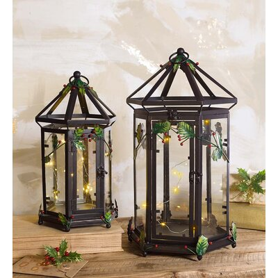 Metal and Glass Holly 2 Piece Decorative Lantern Set LT7704