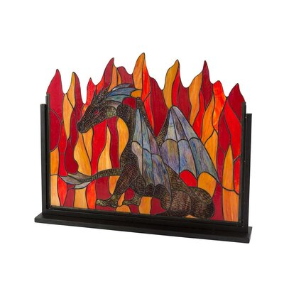 Stained Dragon Single Panel Glass Fireplace Screen LT7660
