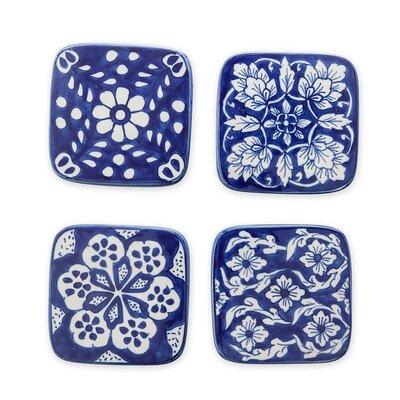 4 Piece Ceramic Coaster Set PS7417 BLU