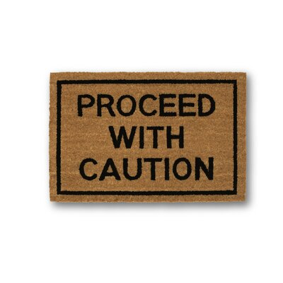 Proceed with Caution Coir Doormat