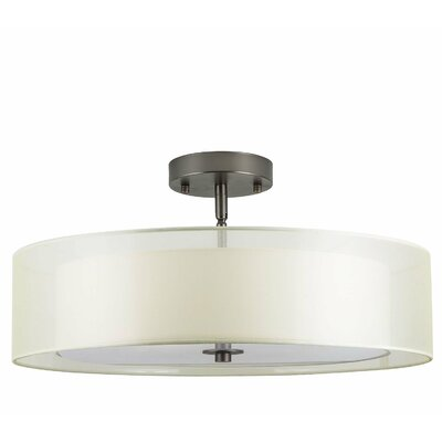 Broach 3-Light Semi-Flush Mount Finish: Bronze