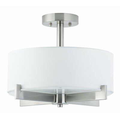 Parkside 3-Light Semi Flush Mount Finish: Brushed Nickel