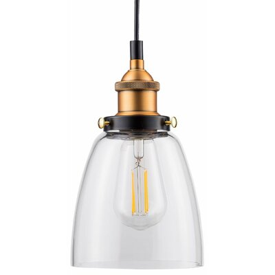 Dunnigan 1-Light LED Mini Pendant Finish: Antique Brass, Shade Color: Clear