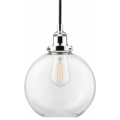 Dunneback 1-Light LED Globe Pendant Finish: Polished Chrome, Shade Color: Clear