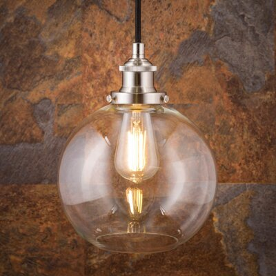 Dunneback 1-Light LED Globe Pendant Finish: Brushed Nickel, Shade Color: Clear