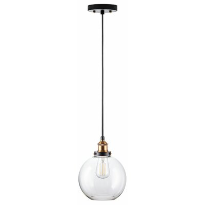 Dunneback 1-Light LED Globe Pendant Finish: Antique Brass, Shade Color: Clear