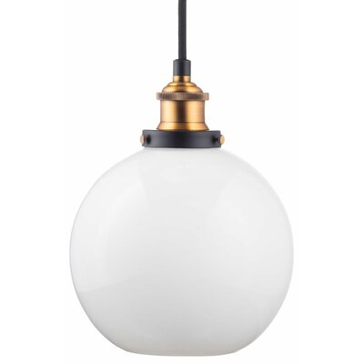 Dunneback 1-Light LED Globe Pendant Finish: Antique Brass, Shade Color: Milk