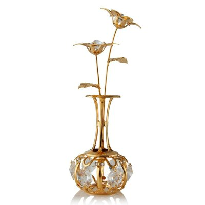 24k Gold Plated Beautifully Crafted 'Sun Flowers In A Vase' Table Top Ornament Decorative Urn