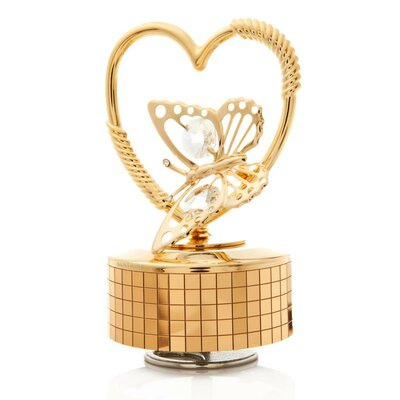 Butterfly in a Heart Music Box Figurine MCTMG3215