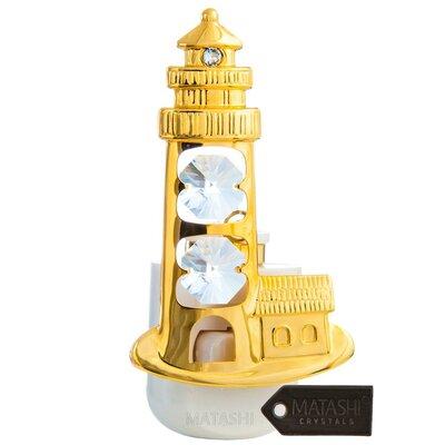 24K Gold Plated Crystal Studded Lighthouse LED Night Light