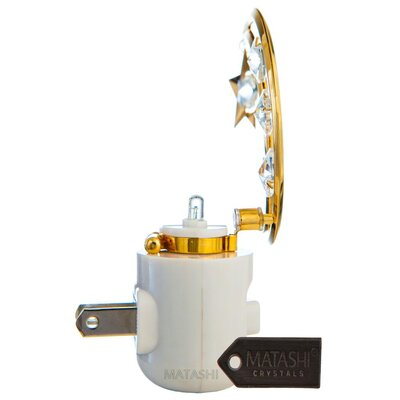 24K Gold Plated Crystal Studded Moon and Dangling Star LED Night Light