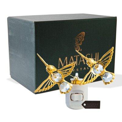 24K Gold Plated Crystal Studded Twin Hummingbirds LED Night Light