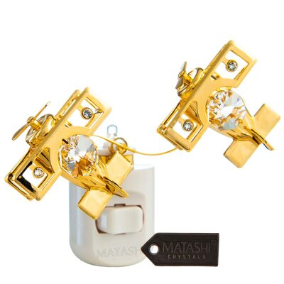 24K Gold Plated Crystal Studded Bi Planes LED Night Light