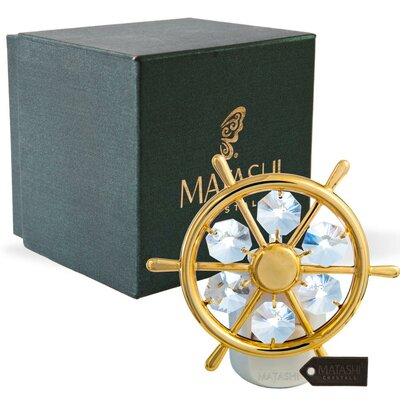 24K Gold Plated Crystal Studded Captains Wheel LED Night Light