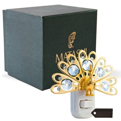24K Gold Plated Crystal Studded Peacock LED Night Light