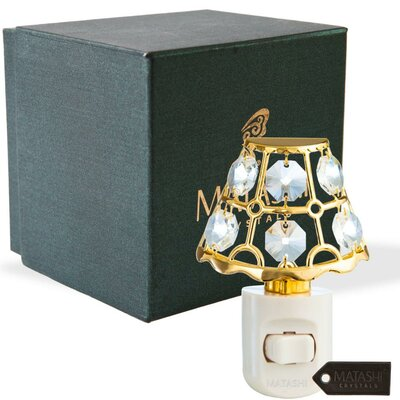 24K Gold Plated Crystal Studded Lamp Shade Multi-Colored LEd Night Light