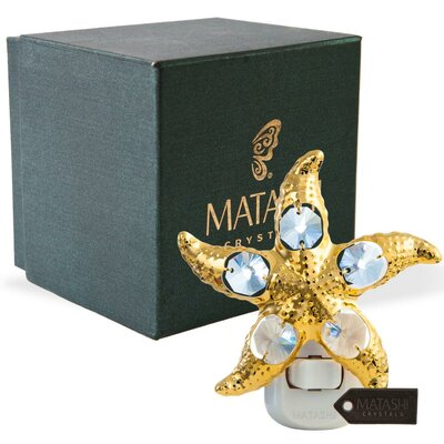 24K Gold Plated Crystal Studded Star Fish LED Night Light