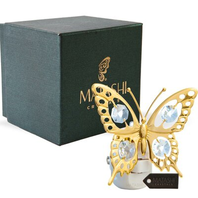 24K Gold Plated Crystal Studded Butterfly LED Night Light