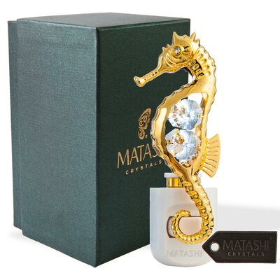 24K Gold Plated Crystal Studded Sea Horse Multi-Colored LED Night Light