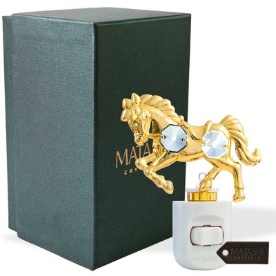 24K Gold Plated Crystal Studded Horse LED Night Light