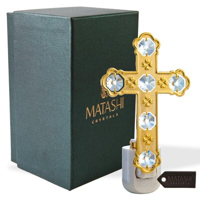24K Gold Plated Crystal Studded Cross LED Night Light