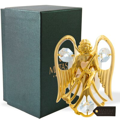 24K Gold Plated Crystal Studded Guardian Angel LED Night Light