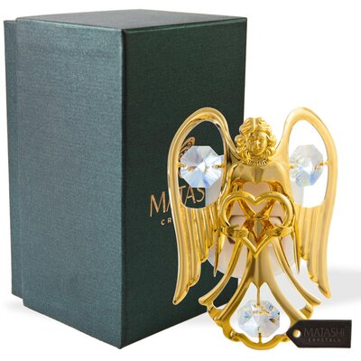 24K Gold Plated Crystal Studded Open Arms Angel Night Light