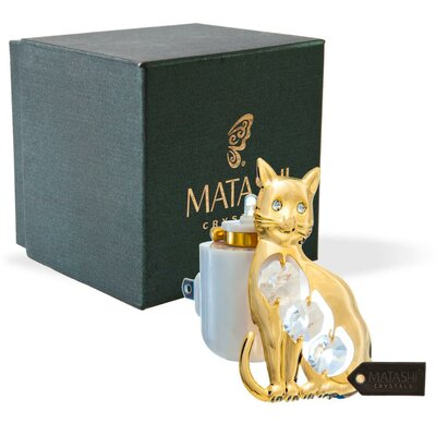 24K Gold Plated Crystal Studded Kitty Cat LED Night Light
