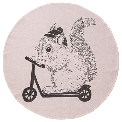Adan Squirrel on Scooter Blush Area Rug