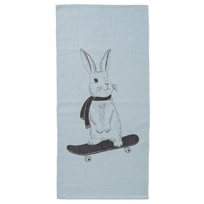 Rabbit on Skateboard Sky Blue Area Rug