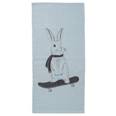 Rabbit on Skateboard Sky Blue Area Rug