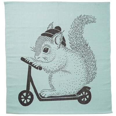 Squirrel on Scooter Mint Area Rug
