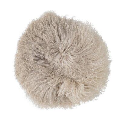 Tibetan Lamb Fur Throw Pillow Color: Dip Dye Stone/Off White