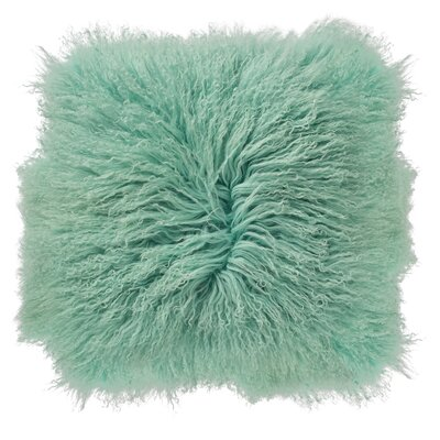 Mongolian Lamb Fur Throw Pillow Color: Pink
