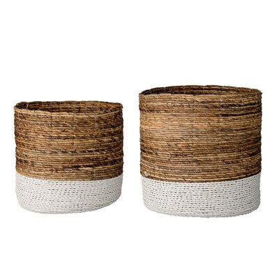 2 Piece Raffia and Banana Leaf Basket Set