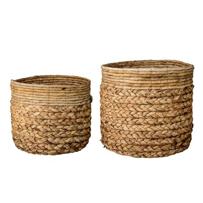 2 Piece Water Hyacinth and Banana Leaf Basket Set