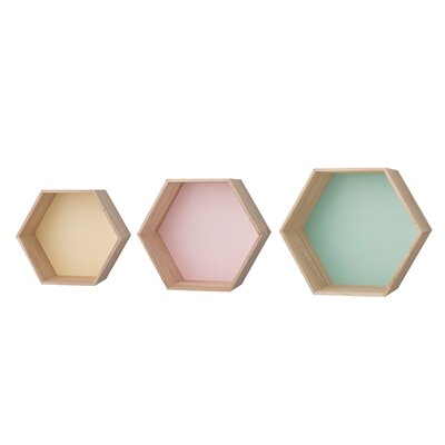 3 Piece Hexagonal Wood Shelf Set Finish: Mint/Lemon/Nude A50200024