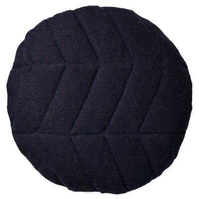 Quilted Recycled Wool Throw Pillow With Gold Zipper Color: Navy