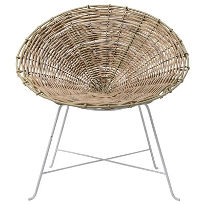 Braided Rattan Papasam Chair Fabric: White/Natural