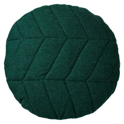 Quilted Recycled Wool Throw Pillow With Gold Zipper Color: Green